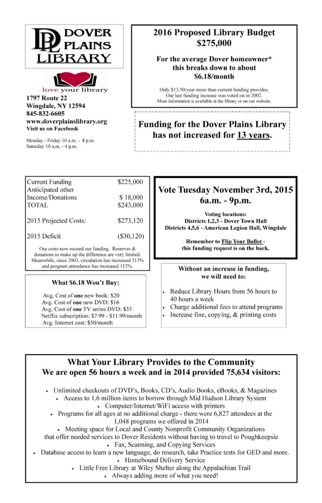 Dover Plains Library - Brochure Back