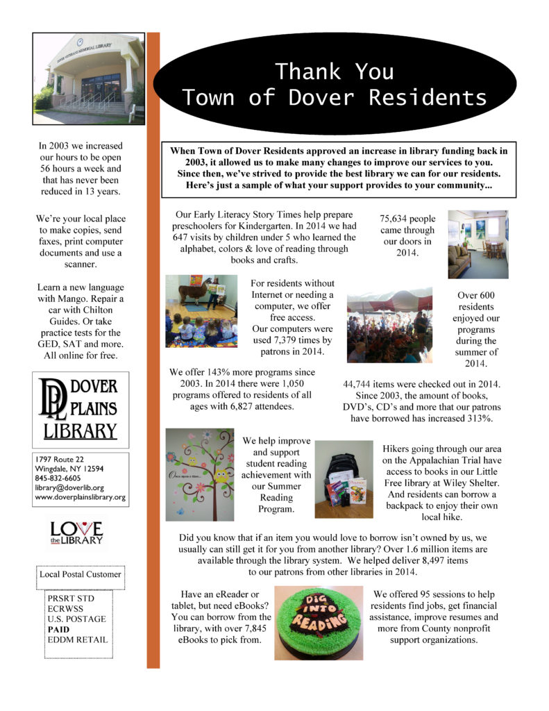 Dover Plains Library - Thank you Flyer