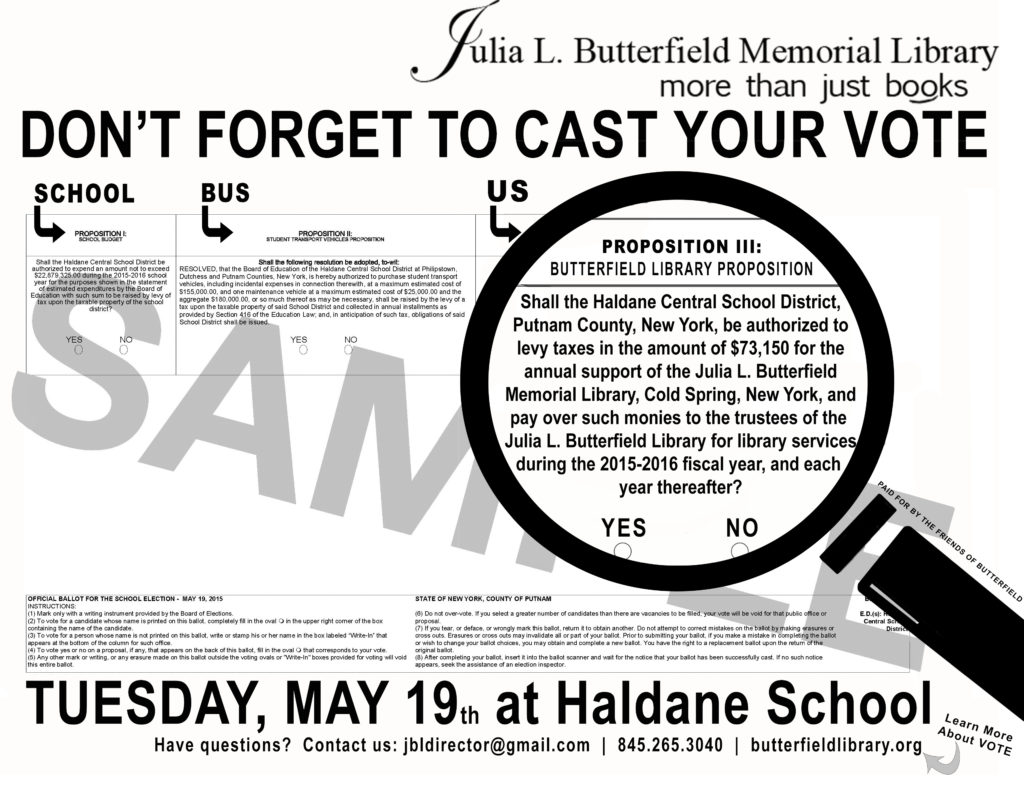 Julia L. Butterfield Memorial Library - Sample Ballot Flyer