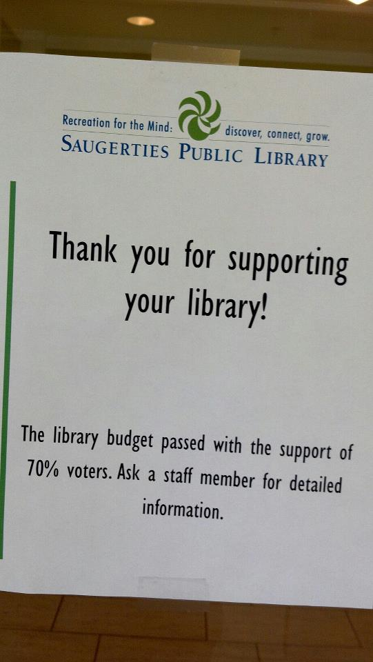Saugerties Public Library - Thank you Flyer