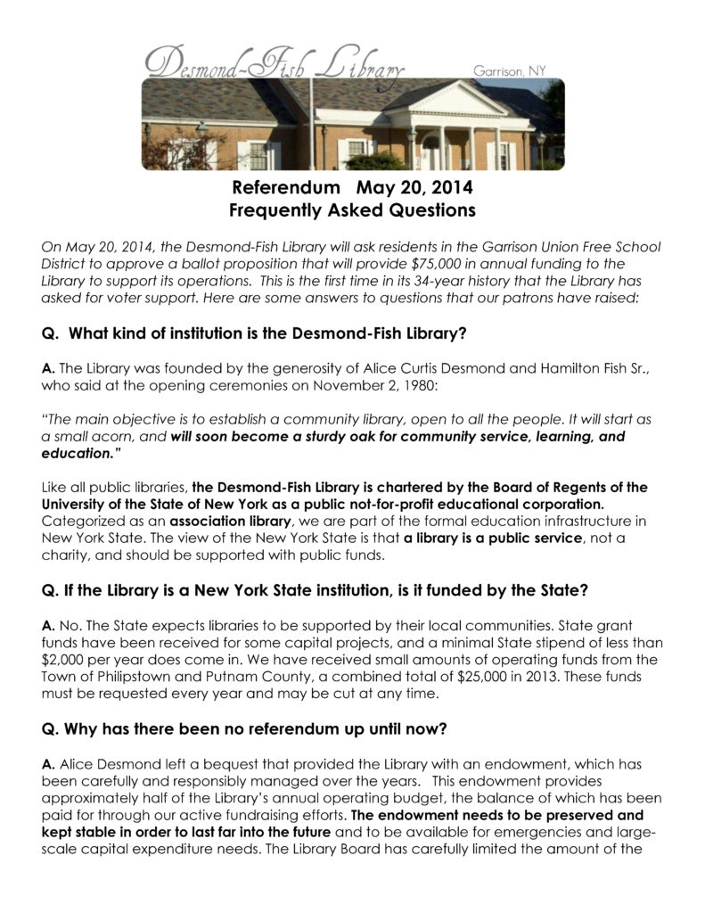 Desmond-Fish Library - FAQs Page 1